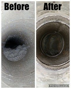 dryer vent that has been cleaned after being clogged