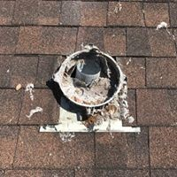 round opening for a dryer vent on roof top of home